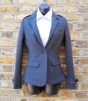 Burberry Brit Women's Grey 100% Wool One Button Blazer Sports Coat Size UK 6 NEW