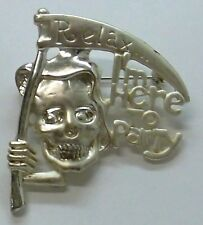 Halloween Death With Sickle Signed Brooch Pin With Saying in Silver Plate, NEW