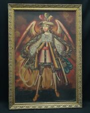 "FRAMED ANGEL ARCABUCERO CUZCO SCHOOL SPANISH COLONIAL RELIGIOUS PRINT 21""x 29"""