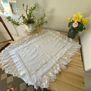 Stunning Antique Vintage White Table Cloth Shaped Fringed Lacy Edge 76x59cm