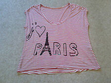 Ladies Red and White Striped Top Size 12
