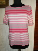 Tee shirt coton rose rayé blanc/gris BETTY BARCLAY 44FR 16UK manche courte
