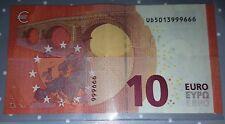 RARE BILLET DE 10 EUROS DRAGHI 2 GROUPES DE 3 CHIFFRES FRANCE N° UD5013999666
