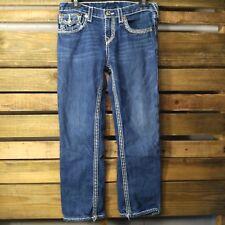 True Religion Womens Jeans 30x25 Dark Wash Distressed Cropped Straight - J15-18