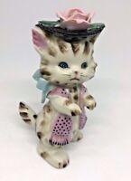 Vintage Napco Lefton Kitty Anthropomorphic Cat Wearing Hat with Pink Rose