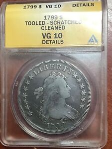 ANACS VG10 DETAILS 1799 DRAPED BUST DOLLAR  EASILY LOOKS VF GREAT TYPE COIN
