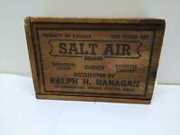 antique CODFISH BOX, SALT AIR brand BOSTON MA. 1lb wood advertising container