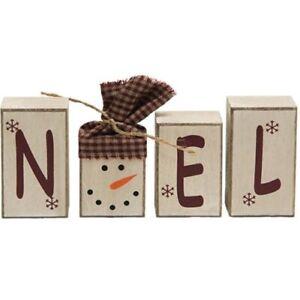 Christmas Winter Primitive Rustic Style Snowman NOEL Blocks
