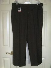 """Stafford"" Pleated Front Dress Pants in Dark Brown w/Hidden Extender Waistband"