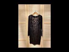 Damen Kleid Gr.42 Wie Neue Schwarz mit Blumen aus Leder und Stickerei.