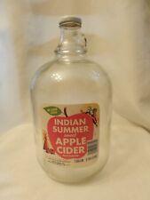 Vintage Indian Summer Apple Cider Label Glass Gallon Jug Evansville Indiana