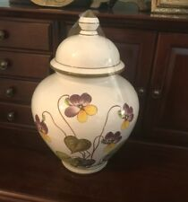 VINTAGE BONWIT TELLER CERAMIC URN MADE IN ITALY AFRICAN VIOLETS  11 INCHES
