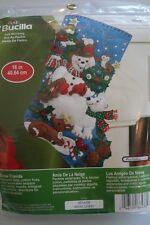 """Bucilla Snowman Snow Friends 16"""" Felt Christmas Stocking Kit #86438 Deer Bear"""