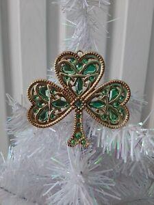 "New - Irish Celtic Shamrock Ornament  ""Crystal expressions"" by Ganz"