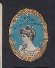 Ancienne petite  étiquette eau de cologne des alpes BN12000 Femme