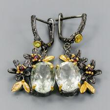 Handmade18ct+ Natural Green Amethyst 925 Sterling Silver Earrings /E35857