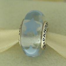 Authentic Pandora 790904 Periwinkle Blue Stars Murano Glass Bead Charm