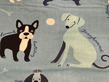 Fabric Dogs Classy Canines on Blue Cotton by the 1/4 yard BIN