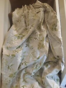 Pr Laura Ashley Home Lined Curtains Drapes Ashdown Olive Pattern Pinch Pleats