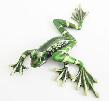 Frog Figurine Enamalled Finish with Green Diamante decoration Boxed