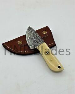 HNF CUSTOM HANDMADE DAMASCUS STEEL MINI HUNTING SKINNER KNIFE | BONE HANDLE H312