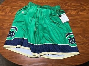 MENS NEW WITH TAGS UNDER ARMOUR NOTRE DAME IRISH BASKETBALL SHORTS SIZE LARGE