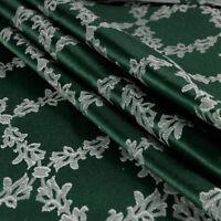Tessuto al metro per arredamento e tendaggi h.280 Raso Verde Jacquard Venezia