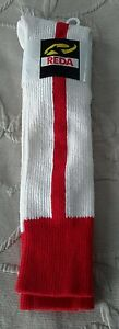 Vintage REDA Sports Athletic Soccer Socks Youth  6-8 1/2 White w/Red Stripes