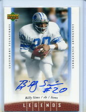 2006 UD Legends BILLY SIMS Legendary Signatures AUTO #73