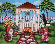 KW 6061 Backyard Cat Scene with Gazabo HP Hand Painted Needlepoint Canvas