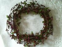 "Berry Candle Ring Pip Wreath 6"" BURGUNDY with Green Leaves MIXED Berries Crafts"