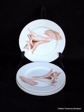 Fitz & Floyd Coquille 4 Salad Plates Shell Seashells Beach Beautiful