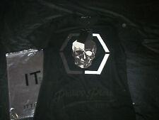 black tee T-shirt noir skull tête de mort style philipp plein strass new neuf