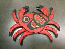 Northwest Coast Native wood Art carved plaque wall panel Salish Crab A. Crocker