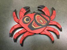 Northwest Coast Native wood Art carved plaque wall panel Salish Crab A. Crocker
