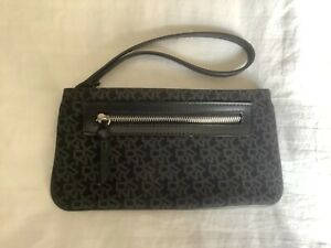 Genuine DKNY wristlet, black with grey DKNY, new no tags, in excellent condition