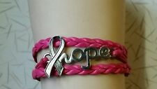 "BREAST CANCER HOPE,LEATHER CHARM BRACELET- HOT PINK - 6 1/2"" - 8 1/2"" -#54"