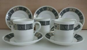 WEDGWOOD Asia 10 pc COFFEE set - 5 CUPS & 5 SAUCERS white black & gold R4288