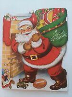 1950s Vtg SANTA PopUp GRANDSON Whit CHRISTMAS GREETING CARD
