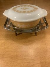 Vintage Pyrex Butterfly Gold Cinderella Casserole Dish w/ Lid, Warmer & Cradle