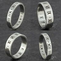 4mm 6mm Stainless Steel Wedding Band - Mens & Womens Silver Roman Numeral Ring