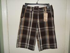 G & M Boys Casual Shorts Size 14 Brown Plaid NWT