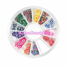 Mix 12 Style Fimo Slice Flower Design Acrylic Nail Art Decoration Wheel