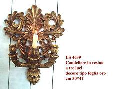 Candeliere barocco in resina per 3 candele, decoro tipo foglia oro cm 30*41