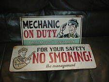 LOT OF 2 GARAGE/SHOP MECHANIC ON DUTY 7 DAYS A WEEK & NO SMOKING METAL SIGNS