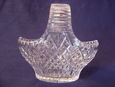 "CUT POLISHED HEAVY CRYSTAL BASKET HANDLED 7 1/2"" TALL"