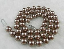 """8mm Silver Champagne South Sea Shell Pearl Necklace 18"""" Aaa+ Ff0228"""