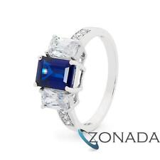 Round Simulated Diamond Sapphire Octagonal 9k 9ct Solid White Gold Ring