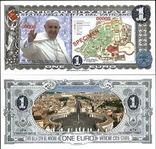 NEW POLYMER 2014 VATICAN POPE FRANCIS 1 EURO SPECIMEN FANTASY ART FUN BANKNOTE!