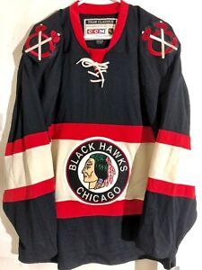 CCM Classic NHL Jersey Chicago Blackhawks Team Black Throwback sz L